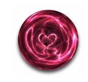 Het hart van de kristallen bol op wit   Stock Afbeelding
