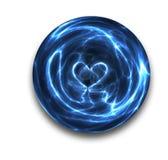 Het hart van de kristallen bol op wit Royalty-vrije Stock Afbeeldingen