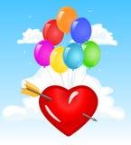 Het hart van de liefde in de wolken Stock Afbeeldingen