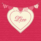 Het hart van de liefde en bunting achtergrond Royalty-vrije Stock Afbeeldingen