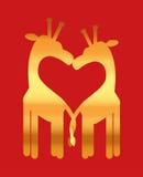 Het hart van de liefde, girafpaar Stock Foto