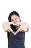 Het hart van de liefde maakt door hand. Stock Afbeelding
