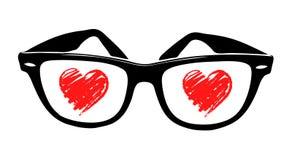 Het hart van de liefde in sunglass Stock Afbeeldingen