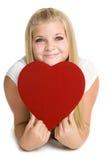 Het Hart van de Liefde van de Holding van het meisje Royalty-vrije Stock Fotografie
