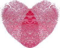 Het Hart van de Liefde van de vingerafdruk Royalty-vrije Stock Afbeeldingen