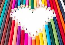Het hart van de mooie kleurpotloden Royalty-vrije Stock Afbeeldingen
