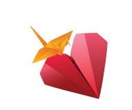Het hart van de origami Stock Foto's