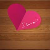 Het hart van de origami op houten met exemplaar-ruimte. + EPS8 Stock Afbeelding