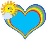 Het hart van de regenboog met zon Stock Afbeeldingen