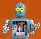 Het hart van de robotholding, 3d metaalhart, geeft terug stock afbeeldingen