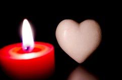 Het hart van de steen door het kaarslicht Stock Foto