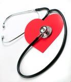 Het hart van de stethoscoop stock foto