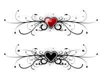 Het hart van de valentijnskaart bloemen Stock Afbeelding