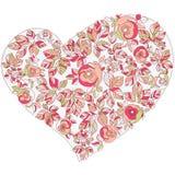 Het hart van de valentijnskaart in bloemenstijl Stock Foto