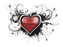 Het hart van de valentijnskaart grunge bloemen Royalty-vrije Stock Afbeelding