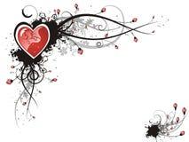 Het hart van de valentijnskaart grunge bloemen Stock Foto