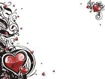 Het hart van de valentijnskaart grunge bloemen Royalty-vrije Stock Afbeeldingen