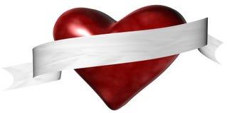 Het Hart van de valentijnskaart met Banner Stock Afbeeldingen