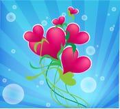 Het hart van de valentijnskaart, met blauwe bloemen. stock foto