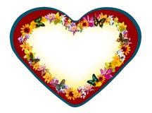 Het hart van de valentijnskaart met bloemen en vlinders Stock Afbeeldingen