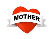 Het hart van de valentijnskaart met etiketmoeder die op witte achtergrond wordt geïsoleerdr Royalty-vrije Stock Afbeeldingen