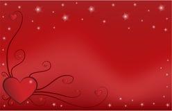 Het hart van de valentijnskaart met ornament Stock Afbeelding