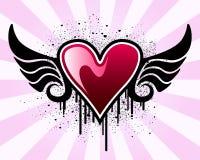 Het hart van de valentijnskaart met vleugels vector illustratie