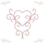 Het Hart van de valentijnskaart - Overladen Overzichten Stock Afbeelding