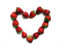 Het hart van de Valentijnskaart van de aardbei Royalty-vrije Stock Fotografie