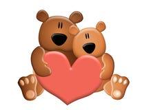 Het Hart van de Valentijnskaart van de Holding van teddyberen stock illustratie