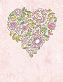 Het hart van de valentijnskaart van de lentebloemen Stock Afbeeldingen