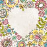 Het hart van de valentijnskaart van kleurenbloemen vector illustratie