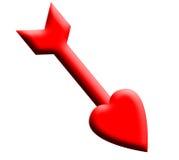 Het hart van de valentijnskaart zoals die door cupid in brand wordt gestoken stock illustratie