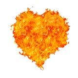Het hart van de vlam op wit Stock Afbeelding