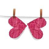 Het hart van de vlinder, verfrommeld haveloos hart royalty-vrije illustratie