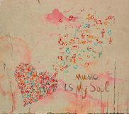 Het hart van de waterverfmuziek stock illustratie