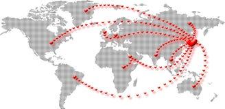 Het hart van de wereld verzendt om Japan te helpen Stock Foto's