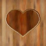 Het hart van Grunge dat in houten plank wordt gesneden. + EPS8 Stock Foto