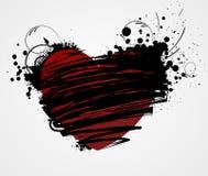 Het hart van Grunge met bloemenelementen stock illustratie