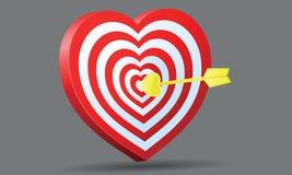 Het hart van het doel met gouden pijl Amur Royalty-vrije Stock Foto's