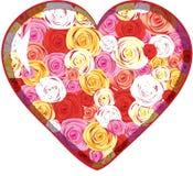 Het hart van het glas met binnen rozen Stock Foto's
