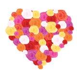 Het hart van het glas met rozen binnen over wit Stock Foto's