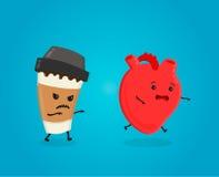 Het hart van het koffiedoden het concept van het cafeïnegevaar cafeïnedoden Vector vlak beeldverhaalkarakter Stock Fotografie