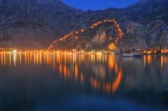 Het hart van Kotor, Montenegro - nachtsc?ne royalty-vrije stock foto's