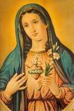 Het Hart van Maagdelijke Mary Typisch katholiek gedrukt beeld van het eind van 19 cent oorspronkelijk door onbekende schilder Stock Fotografie