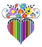 Het hart van potloden en bloemen, vectorillustratie Stock Afbeeldingen