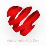 Het hart van rode lintValentin. Vector illustratie Stock Afbeelding