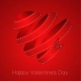 Het hart van rode lintValentin. Vector illustratie Stock Afbeeldingen