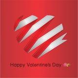 Het hart van rode lintValentin. Vector illustratie Royalty-vrije Stock Afbeelding