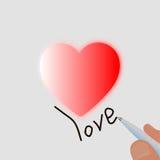Het hart van roze en de pen schrijven liefde Stock Afbeelding